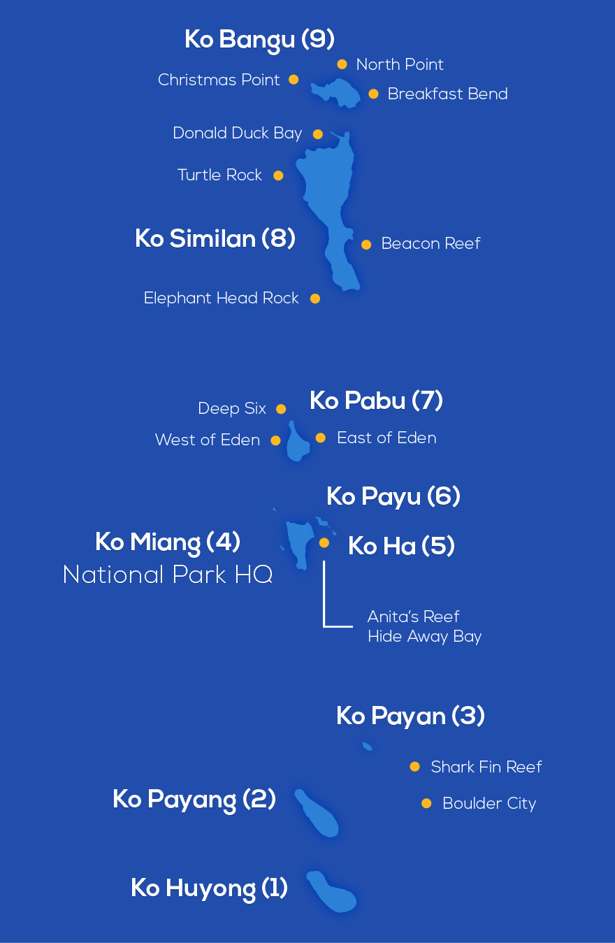 Map of the Similan Islands, Phuket, Thailand